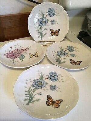 """Lenox Butterfly Meadow China Set Of 4 6"""" Party Plates EUC"""