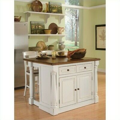 HOME STYLES AMERICANA Kitchen Island with 2 Stools, Gray ...