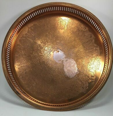 "Coppercraft Guild Solid Copper 15"" Round Serving Tray Platter"