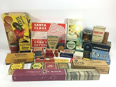 Junk Drawer Lot of Vintage Advertisement Items and Boxes Eclectic Collection