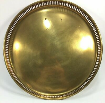 "Solid Metal Brass 12"" Round Serving Tray Platter"