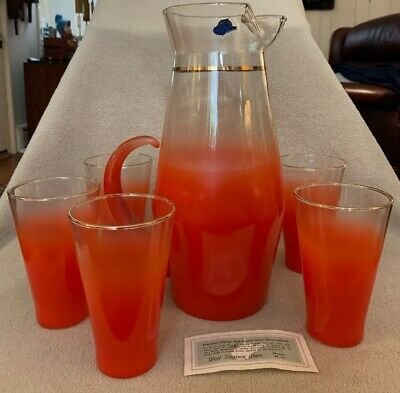 Retro MCM West Virginia Vermillion Orange Glass Blendo Pitcher Tumblers UNUSED