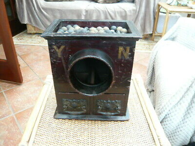 Very Rare Victorian Antique Masonic Wood Voting Pine Box Yea / Nay With Marbles