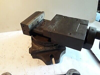 Vintage Machinist Milling Drill Press Vice Vise Swivel Base 4'' jaw 2'' opening