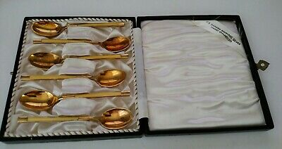 vintage Meka Denmark set of 6 sterling silver enamel guilloche demitasse spoon