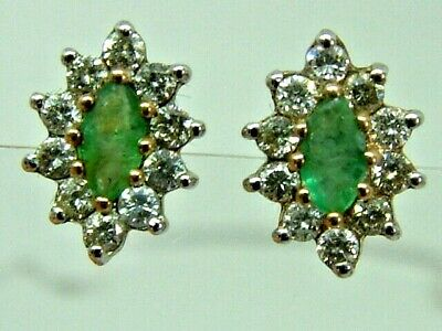 Pretty 9Ct Yellow Gold Marquise Shape Emerald Diamonds Cluster Stud Earrings