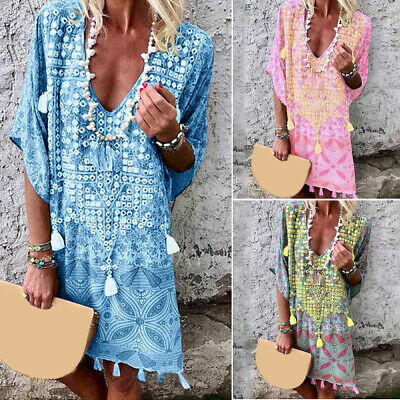 Women Dress Ladies Party Summer Fashion Beach Dress Loose Vacation Baggy