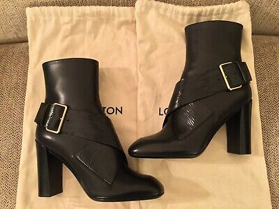 b8a4fcd982e 100% AUTHENTIC LOUIS Vuitton Black Leather Ankle Boots Booties New ...