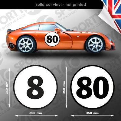 Roundal Race Number - 1x 350mm Vinyl Decal / Stickers Classic Heritage 3226-0219