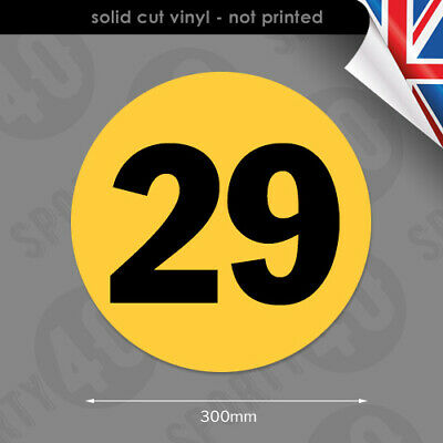 Round Number Vinyl Decals / Stickers - 1 x 300mm - Racing, Classic Car 6103-0119