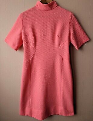 60s Vintage Coral Pink High Neck Mod Dress 14 Shift Short Sleeved Gogo