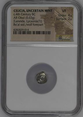NGC Greek Silver Obol, CILICIA, 4th Century BC, Ba'al and Wolf, Grade VERY FINE