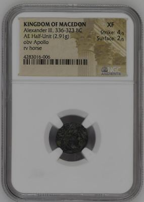 NGC Greek Bronze Half-Unit, ALEXANDER THE GREAT (III), 4th Century BC, X FINE #2