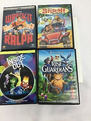 Lot Of 3 Disney / Dream Works DVD Inside Out Stitch Wreckit Ralph Rise