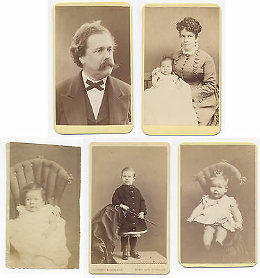 1870's CDV Portraits SAMUEL & SARA WOODHOUSE & CHILDREN Photos