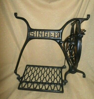 Vintage Cast Iron Singer Treadle Sewing Machine Metal Base NO Legs Included
