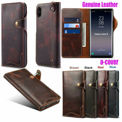 Genuine Leather Magnetic Wallet Stand Case Cover Fr iPhone XS MAX XR X 7/8 Plus