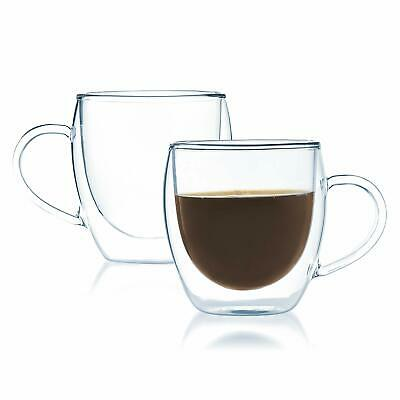 JavaFly 2 Pack Insulated Thermo Bistro Cup Double Wall Glass Coffee Mugs Clear