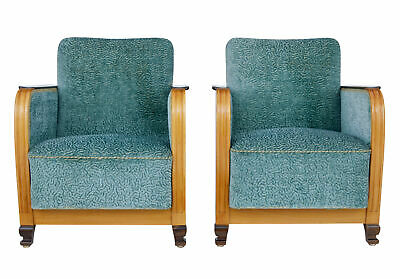 Pair Of Mid 20Th Century Scandinavian Elm And Birch Armchairs