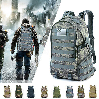 45L Waterproof Camping Hiking Bag Army Military Tactical Backpack Sports Travel
