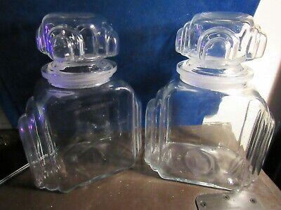 PAIR OF Antique Art Deco Apothecary Candy Jar drug store pharmacy -SKYSCRAPER