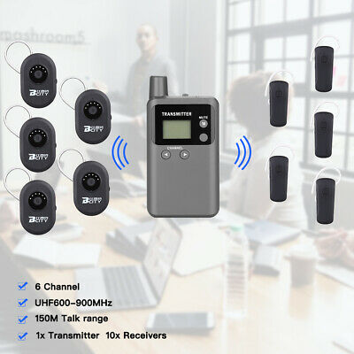 Wireless Guide System UHF 150M Range Audio Transmitter & 10x Headphone Receivers