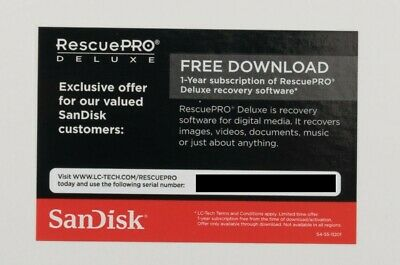 SanDisk RescuePro Deluxe - 1 Year Subscription Key