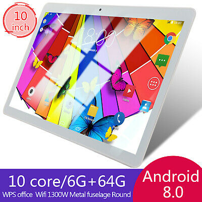 "10"" Inch 6GB+64GB HD Tablet PC Android 8.0 Ten Core Wifi Bluetooth 4.0 5.0MP UK"