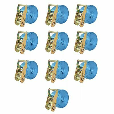 vidaXL Sangle d'arrimage à cliquet 10 pcs 2 tonnes 6 m x 38 mm Bleu