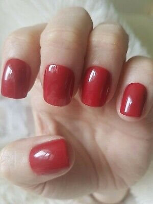 Hand Painted Wine Red False Nails. 20 Short Square Press-on Nails. Glossy.