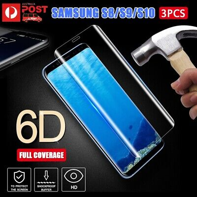 3x 6D 9H HD Full Curved Tempered Glass Screen Protector Samsung Galaxy S8 S9 S10