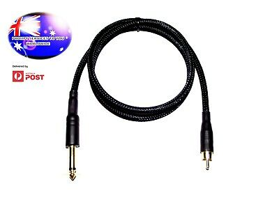 From OZ Quality 1M 6.35mm 1/4 Male Mono To RCA Male Pro Cable Black Braided FP