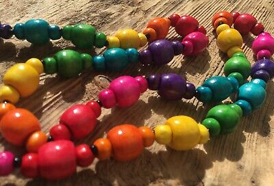 Multi Coloured Wooden Long Single Strand Rainbow Bright Beaded Festival Necklace
