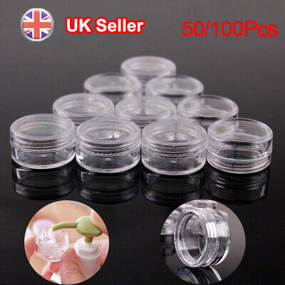 5ML Clear Plastic Empty Cosmetic Sample Pots Art Craft Storage Containers Jars S