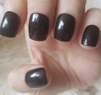 Hand Painted Black Nails. 20 Short Square Press-on Nails. Glossy.