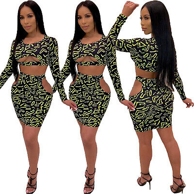 Women Leopard Print Long Sleeve Tops Sexy Hollow Out Club Bodycon Mini Dress 2pc