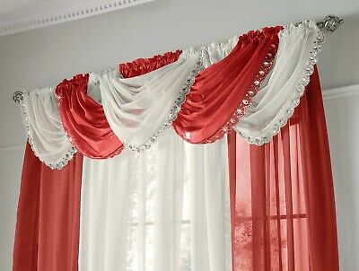 Jewelled Swag Sparkle Crystal Glitter Voile Net Panel Pelmet Swags Curtains Red