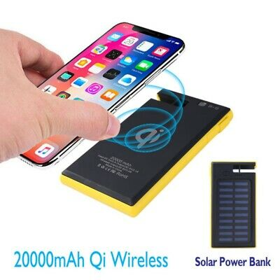 20000mAh Wireless Charger Solar Power Bank LED USB External Battery Fast Charger
