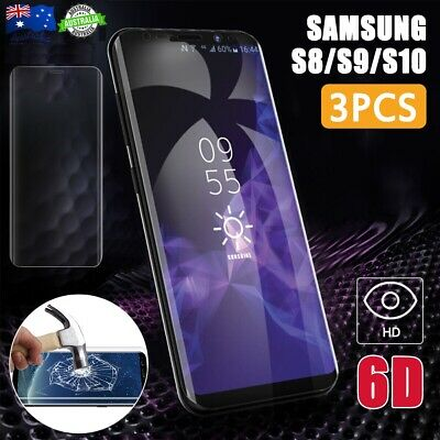 3PCS 6D 9H  For Samsung S10 S9 S8 Full Coverage Tempered Glass Screen Protector