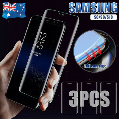 3x 9H HD Samsung Galaxy S10 S9 S8 6D Full Cover Tempered Glass Screen Protector