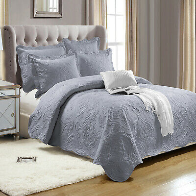 Grey 3 Piece Embroidered Bedspread Set With Pillow Shams Single Double King Size