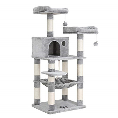 FEANDREA 58 inches Multi-Level Cat Tree with Hammock, Cat Tower for Large Cats