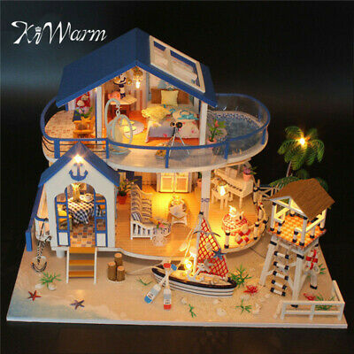 DIY Wooden Dollhouse Miniature Kits With LED+Furniture House Room Model Gift Set