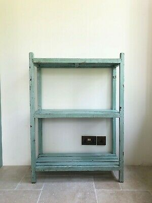 Antique Vintage Aqua Chippy Painted French Wooden Rack Of Shelves Open Bookcase