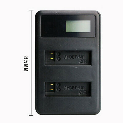 Dual LCD Display Battery Charger For GoPro HERO4-401 DC 5V Input + USB Cable Hot
