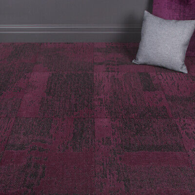 Quality Office Carpet Tiles Patched Pattern Deep Fuchsia/ Grey - 3.76m2