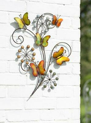 Metal Butterfly Flower Wall Art Garden Decoration 3D Outdoor or Indoor Ornament