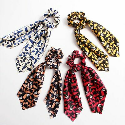 Women Floral Scrunchies Large Ribbon Bow Scarf Hair Band Retro Ponytail Holder