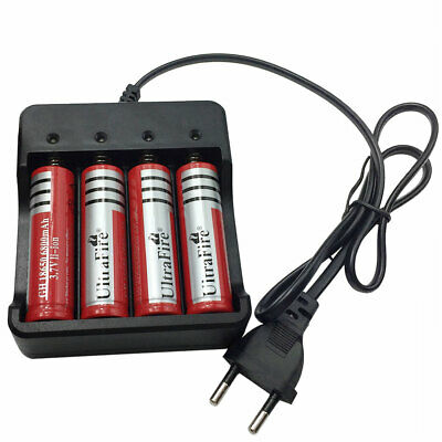 4pcs 18650 Batterie 6800mAh 3.7V Li-ion Rechargeable and 4 Slots Smart Chargeur