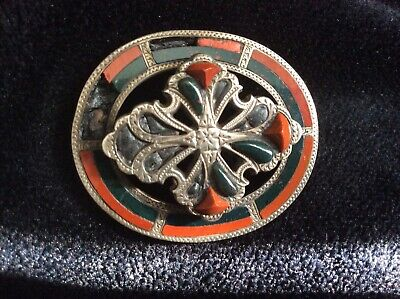 19thC c1880 VICTORIAN *LARGE* SCOTTISH AGATE BLOODSTONE PEBBLE SILVER PIN BROOCH